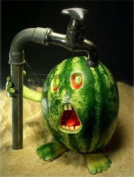 watermellon under faucet enlarged